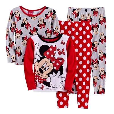 Disney MINNIE MOUSE 3T 4T POLKA DOT RED BOW Pajamas TODDLER GIRLS One SET ~ NEW