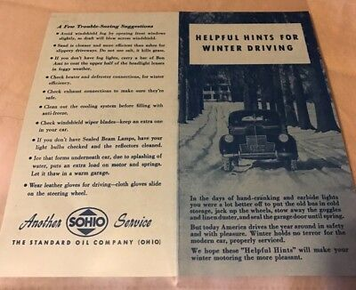 SOHIO Helpful Hints for Winter Driving pamphlet handout Standard Oil Ohio