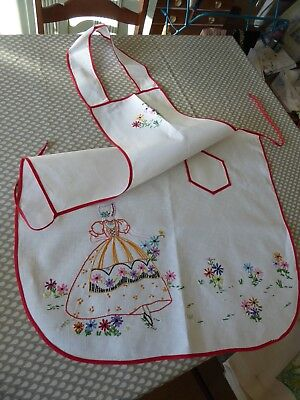 Vintage Hand  Embroidered Linen Apron/pinny With Crinoline Lady & Flowers