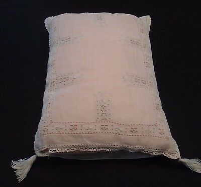 Antique Vintage Ivory Open Work Lace Crochet Pillow Cover Tassels Pink Insert