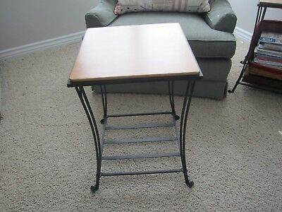 Longaberger Wrought Iron Side Table With Maple Shelf Top Euc Local Pick Up Only
