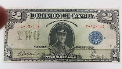 1923 Dominion of Canada $2 Two Dollar Bill Nice and Crisp - Blue Seal Group 1