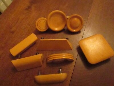 Vintage Wood Drawer Pulls Cabinet Handles blonde wood solid Lot of 9 pieces