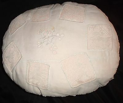 Antique Large Ivory Cotton Pillow Embroidered Center / Lace Panels & Lace Trim