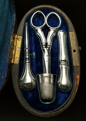Antique French Sterling Silver Sewing Set In Marquetry Inlay Wood Etui Case
