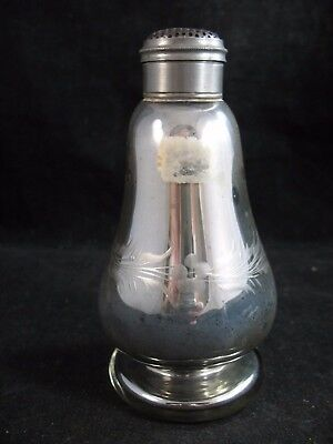 """Antique Pewter and Mercury Glass Shaker 5 1/8"""" Floral Etched"""