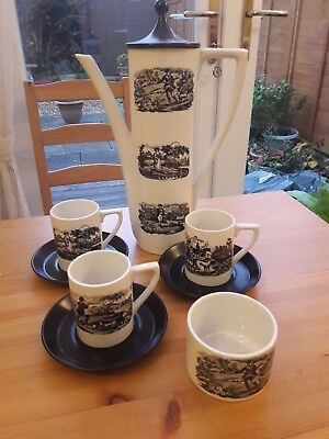 Port meirion coffee pot, cups, saucers and sugar bowl