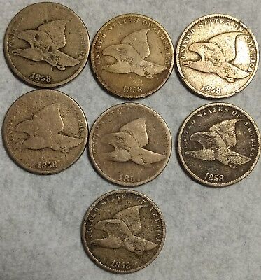 #2 Lot of 7 Flying Eagle Cents 1857 & 1858! Sought after type coins!