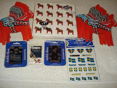 Lot Of Swedish Napkins, Dalecarlia Dala Häst Post Cards, Flags, Stickers, Charm