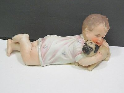 Antique Gebruder Heubach Bisque Porcelain Piano Baby With Pug Dog Figure Large