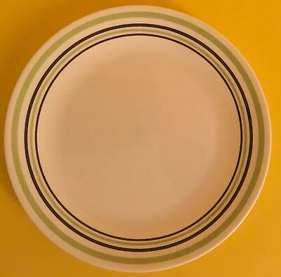 "Corelle Vitrelle Garden Sketch Green Black Bands Dinner Plate 10"" Diameter New"