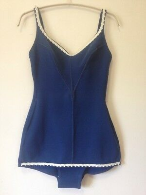 Vintage ST MICHAEL 60's swimsuit bathers one piece blue ladies size 12