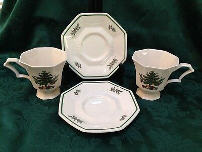 Nikko Christmastime 2 Footed Cups & Saucers Christmas Tree Classic Collection