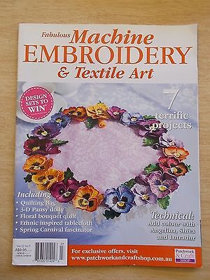 Machine Embroidery & Textile Art Vol 22 #9~Fascinator~Quilt~Tote~Pansies~Pillows