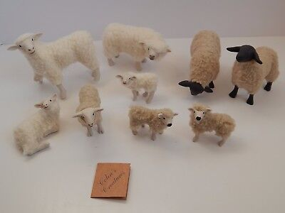 Lot of 9 Colin's Creatures Sheep Lamp FIgurines Artist SIgned #3