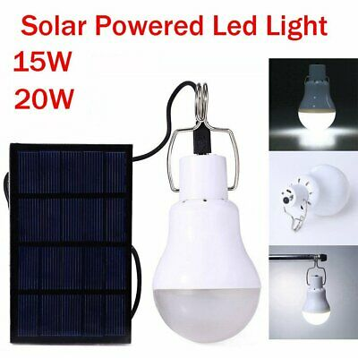 20W LED Solar Light Panel Bulb Indoor Outdoor Camping Tent Shed Emergency Lamp