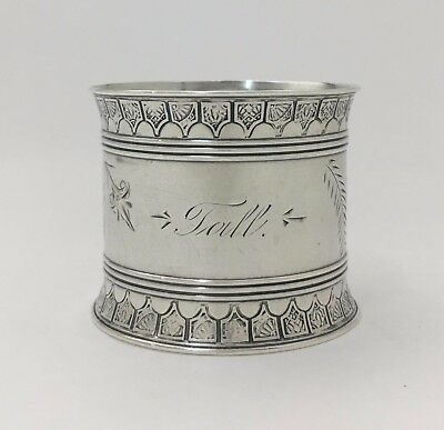 """Gorgeous Gorham Bright Cut Engraved Aesthetic Sterling Silver Napkin Ring """"Jall"""""""