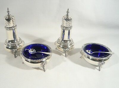 4 Whiting STERLING Silver Reproduction SALT CELLARS & Pepper RAMS HEAD George ll