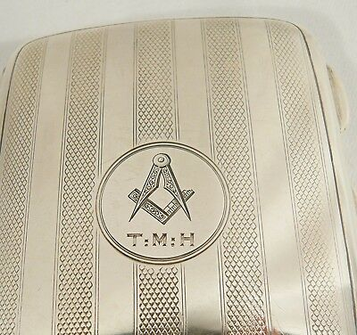 STERLING Silver Antique 1919 Cigarette CASE MASONIC FREEMASONS Chester SI Ld