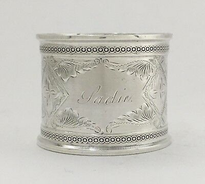 """Beautiful Bright Cut Engraved Antique Sterling Silver Napkin Ring """"Jadie"""""""