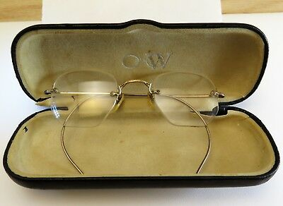 Antique Rimless Spectacles 1/10 14kt & 12kt Gold Filled Frames Scrap/Collectable