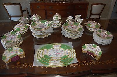 Vintage Minton Dinner Service for 12, Green Cockatrice Pattern, 95 pieces