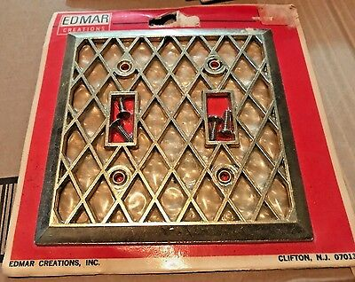 1 Edmar Creations Double Toggle Wall Switch Plate Cover NOS Brass & Pearl 5 avai