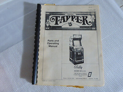 1983 OEM Original Bally/Midway's TAPPER Parts and Operating Manual Arcade
