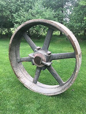 Large Antique 5ft wooden Foundry Mold Wheel Gear Pulley Industrial Steampunk