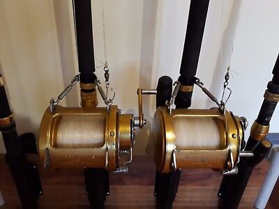 "2x ""80 Penn International"" game reels loaded with 37 kg line PLUS 4 rods"