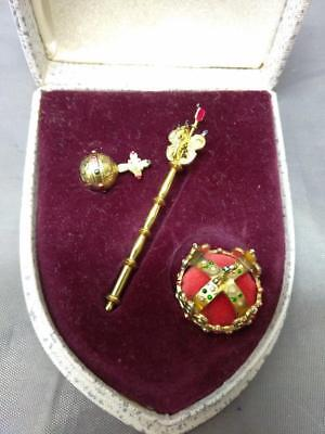 Jewelry Miniature .900 Silver Royal Crown, Orb & Sceptre Czech Crown Jewels Set