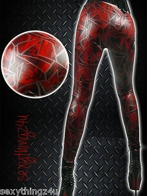 ROCK CHIC GOTH PUNK RAVE  Red & Black LEGGINGS-Size Fits Small 6-8