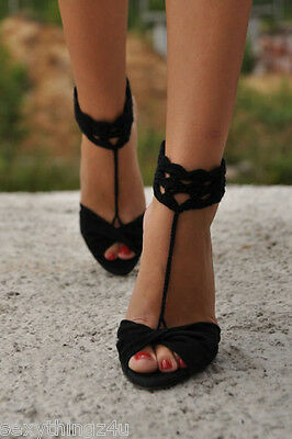 Sexy Anklet Black Barefoot Knitted Slave Sandal Footwear As Shown-Fits Most Feet