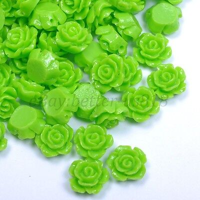 20pcs Green Gorgeous Rose Flower Coral Loose Spacer Beads 10MM