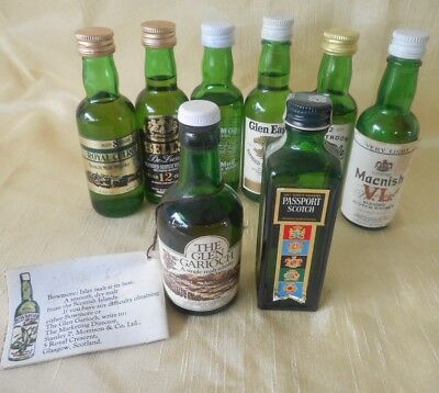 Collectible Miniature Alcohol 8 x SCOTCH WHISKY GREEN Bottles Tobermory, Bell's,