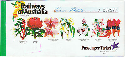 Railway tickets ROA Adelaide to Melbourne airline style 1985 Indian Pacific back
