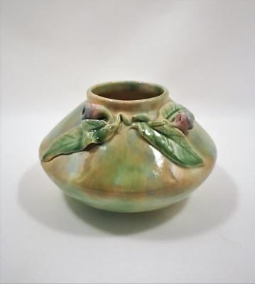 AUSTRALIAN STUDIO POTTERY SQUAT VASE WITH APPLIED GUMNUTS & LEAVES c1930's/40's