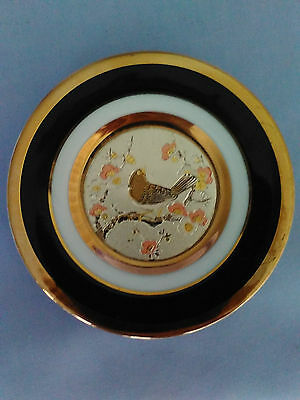The Art Of Chokin Dish 24K Gold Edged W/silver & Copper Bird & Floral 10.5Cm