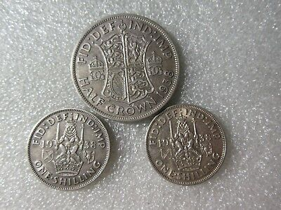 Uk 1938  Coins   Shillings & Half Crown  50% Silver  3  Coins