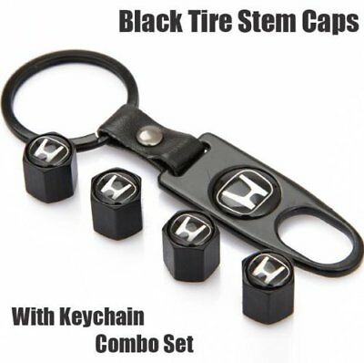 Quality Steel Car Air Tire Valve Caps and Black Keychain Combo Set for Honda