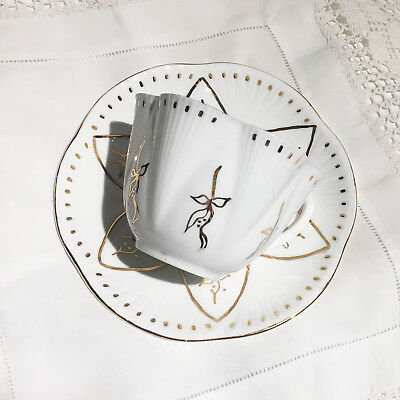 Shelley cup and saucer, lily pattern in white and gold