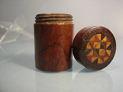 An intricate wooden inlaid marquetry half sovereign case, or card counter case.