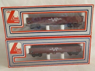Lima Red Elx Ribbed Sided Wagons X 2 - Vr - In Original Box - #sundaymarket