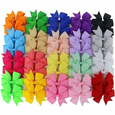 Set Of 40 Boutique Grosgrain Ribbon PinWheel Hair Bows clips 3 inch for Baby