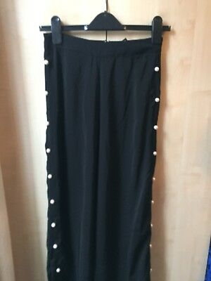 Black High Waist Wide Leg Trousers With Pearls Size 8