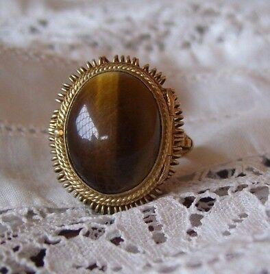 Antique Chinese Poison Ring Silver Gilt Tigers Eye Poison Ring-1920's.