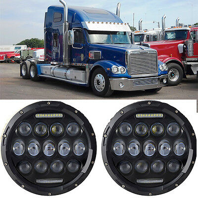 2pcs 7'' Round Led Headlights HI/LO Beam Fit for Freightliner Coronado Projector
