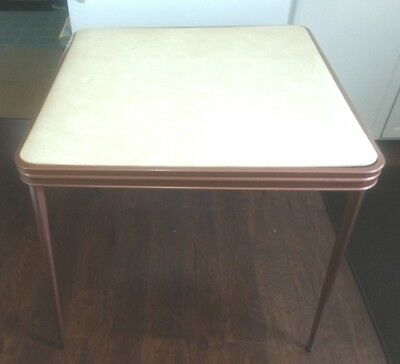 Vintage SEARS Fold-Up Metal & Vinyl Card Table - Cooey Metal Products