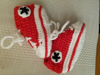 Handmade instagram shop Baby 0-3 months crochet booties/pramshoes red & white.