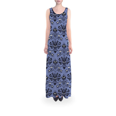Haunted Mansion Wallpaper Flared Maxi Dress